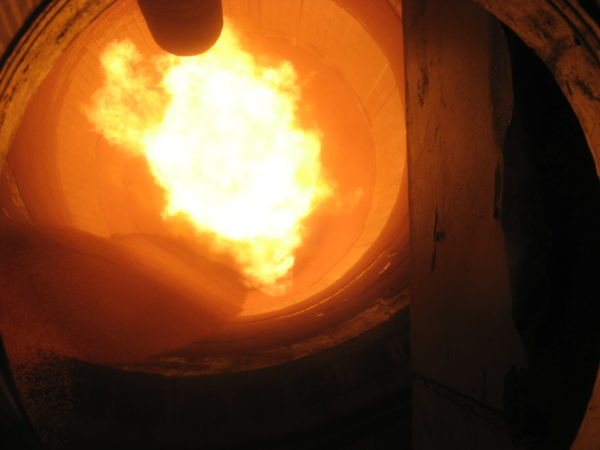 An FCT iron ore pellet kiln burner in action